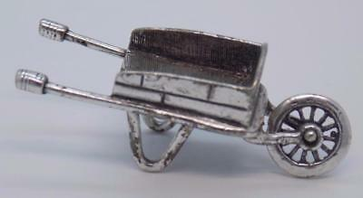 Vintage Solid Silver Italian Made RARE Wheelbarrow Miniature, Figurine, Stamped