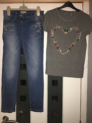 Girls Age 8-9 Years, Next, Multi Beaded Heart Grey Top & Matching Jeans Set L@@k