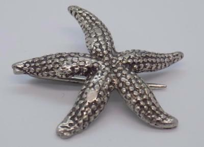 Vintage Solid Silver Italian Made RARE Starfish Pin / Brooch, Stamped