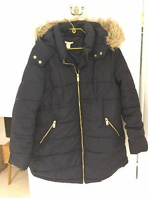 H&M Mama Maternity Navy Winter Jacket Coat Parka size M / Size 10-12