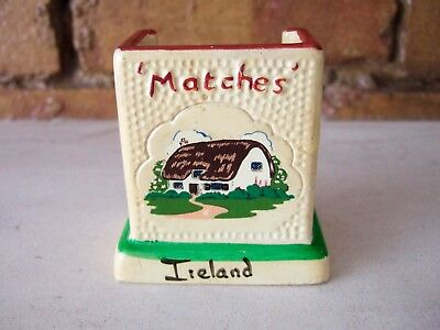 VINTAGE 1960s MANOR WARE POTTERY MATCHES HOLDER, IRELAND, COTTAGE TRANSFER-PRINT