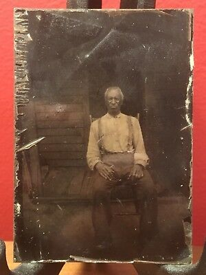 1850s African American SLAVE Tintype PANOTYPE AMBROGRAPH RARE PHOTO outside