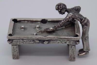 Vintage Solid Silver Italian Made Pool / Billiard Table Miniature, Figurine,RARE