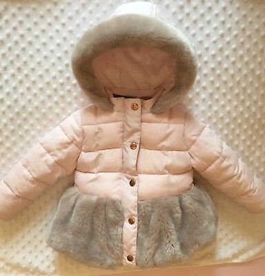 Girls TED BAKER Winter Coat 18-24 months - Baby Pink Faux Fur Jacket 1.5-2 years