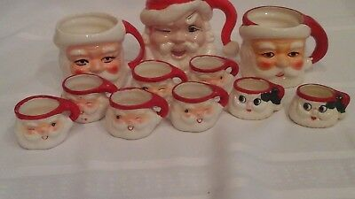 11 Vintage Holt Howard winking santa Christmas mugs Japan mini large preowned
