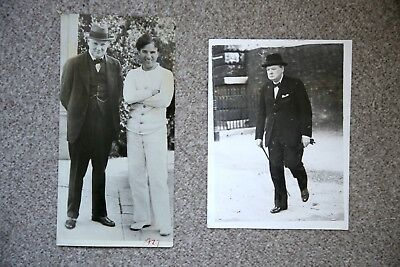 2 rare original Winston Churchill photos, with Charlie Chaplin, 1929