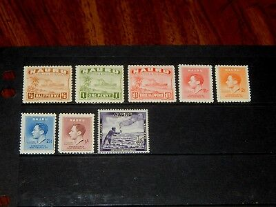 Nauru stamps for sale - 8 mint hinged early stamps - great group !!