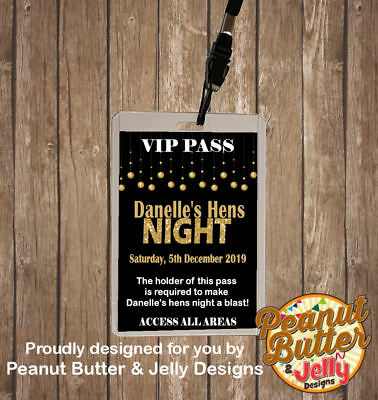 Personalised Hens Night Bachelorette Party Vip Pass Lanyard - Single Sided