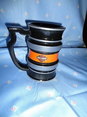 RARE VINTAGE CERAMIC HARLEY DAVIDSON TALL 18oz RIBBED COFFEE CUP MUG-EXCELLENT-