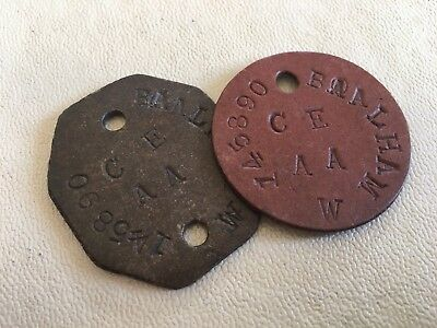 Pair of WW1 Identity Discs 'Dog Tags'- 145890 Baalham W C E AA