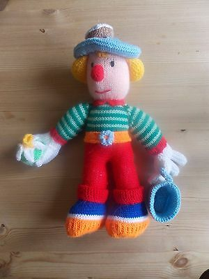 """Hand Made Knitted & Stuffed Soft Toy Clown 18"""" Tall"""