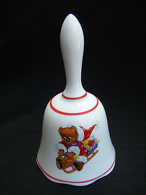REUTTER Porcelain Christmas Bell Teddy Bear Riding Sled Motif
