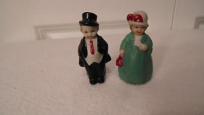 "2 Vintage Porcelain Dolls,  A Victorina Woman And Man,   2 1/4"" Tall, No Chips"