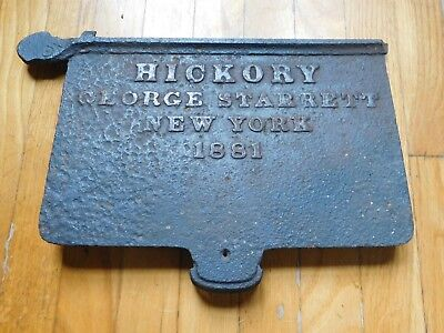 Antique 1881 HICKORY George Starrett NEW YORK Name Plaque Gate Door Sign