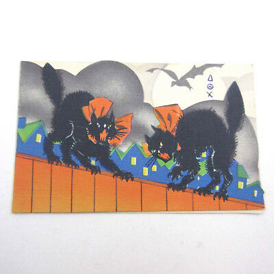 Vintage HALLOWEEN Party Invitation Card with Black Cats on Fence Houses Bat
