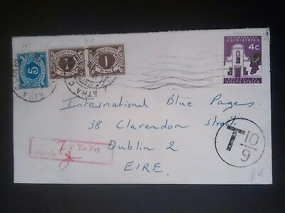 Ireland Stamps postage due envelope  1971? South Africa to Dublin