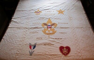 Vintage Handmade Boys Scouts Of America Quilt ~JR044