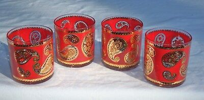 Set 4 CULVER Red Paisley & 22K Gold Old Fashioned Double Rocks Glasses Barware