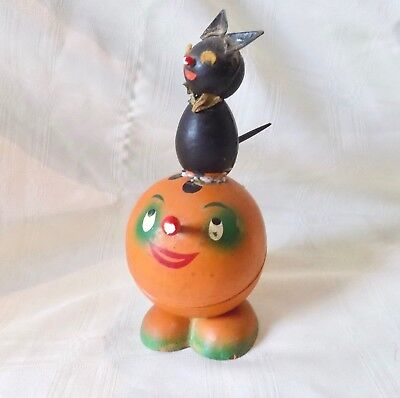 ANTIQUE HALLOWEEN PUMPKIN with BLACK CAT CANDY CONTAINER - GERMAN ?