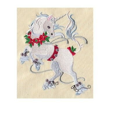 Completed Machine Embroidered Christmas Unicorn