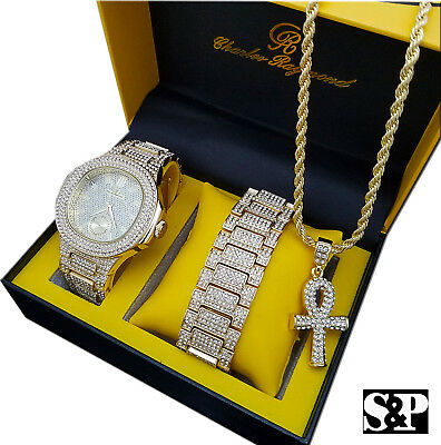 Iced Hip Hop Gold Pt Watch & Iced Ankh Cross Necklace & Bracelet Combo Set
