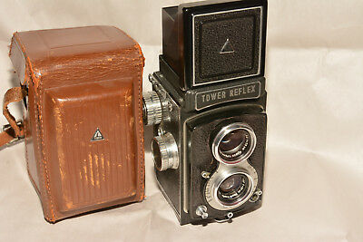 EARLY TOWER TWIN LENS REFLEX CAMERA WITH NIKKOR LENSES 75mm, f3.5 ca1956