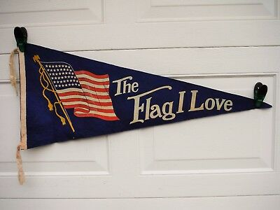 Vintage 48 Star Flag Felt Pennant The Flag I Love Americana Neat! Red White Blue