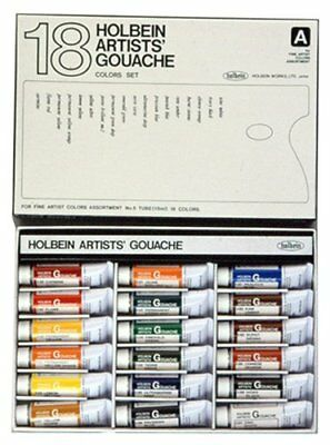 Holbein opaque watercolor paint gouache artist 18 colors set G712 15ml 5 No
