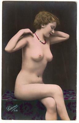 1900s Real Photo  Corona Nude French Postcard 218