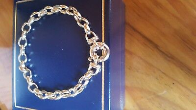 9ct Gold 19cm oval Belcher Bolt Ring Bracelet