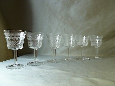 6 Antique Etched Pall Mall Lady Hamilton Cut Sherry Glasses, h10,5cm