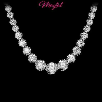 $28200 Certified 18K White Gold 9.20Ct Diamond Necklace