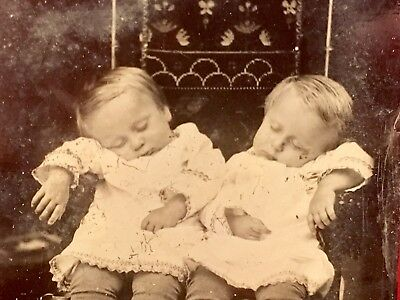 Rare 1800s Antique Post Mortem Tintype Twins Little Girls Tragic.