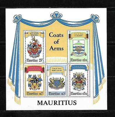 (19514) Mauritius Souvenir Sheet Coats Of Arms Unused