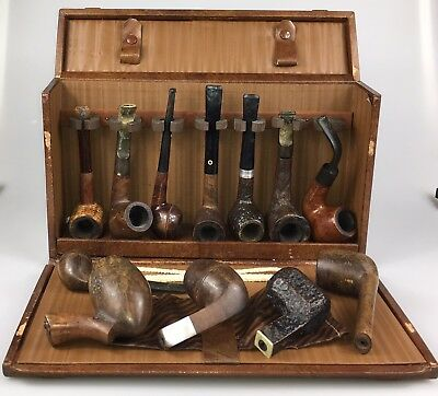 Eight Vintage Tobacco Pipes and Case Digby Frank Medico Dinkless kaywoodie Thorn