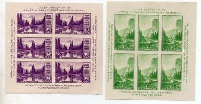 UNITED STATES, 1934 Trans Mississippi Exhibition Sheets LMM