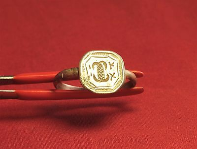 Fine Medieval Silver Knight's Seal Ring 13. Century