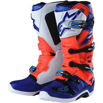 Alpinestars NEW Mx TLD 2018 LE Tech 7 Fluro Red Blue Motocross Dirt Bike Boots