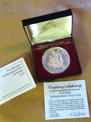 $10 TEN DOLLAR Bahamas STERLING SILVER PROOF COIN 1973 w/ box & Certificate NR