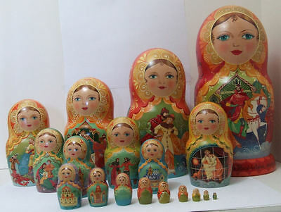"Handpainted One of a Kind 19pcs. RUSSIAN NESTING DOLL ""YOUNG MERCHANT"""