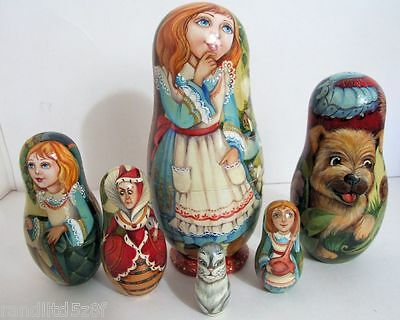 """Hand Painted One of a Kind Russian Nesting Doll """"Alice in Wonderland""""by Ilyukova"""