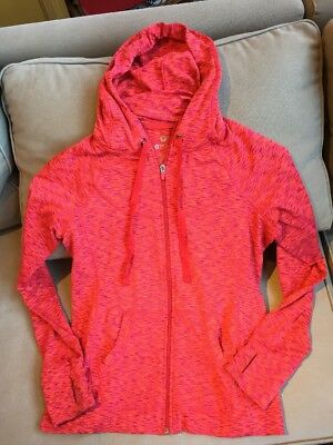 90 Degree by Reflex Womens Hoodie Full Zip Jacket SZ LARGE Coral Red