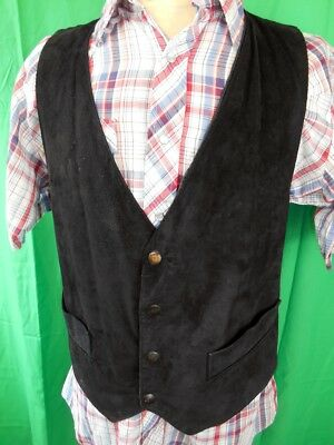 Vintage 70s 80s Black Suede Australian Made Waistcoat with Stud Buttons M