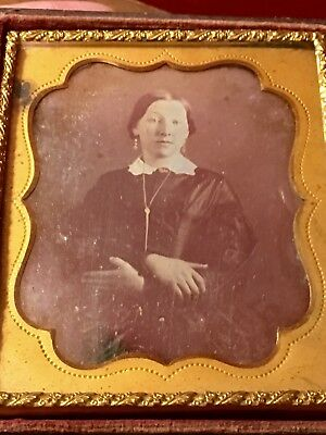 1850s Daguerrotype Hidden Love Note Beautiful Woman Tinted 1/6 Plate Dated