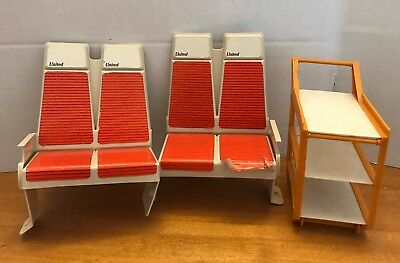 Vintage Barbie United Airlines Friend Ship Airplane 1972 Replacement Seats Cart