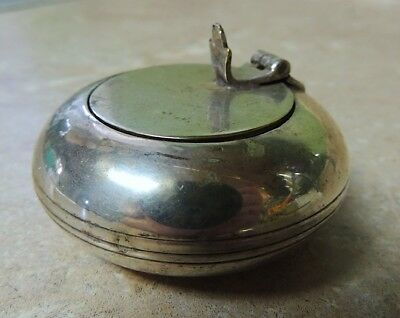 Vintage Metal Small Round Flip Top Covered Personal Ashtray - Silver