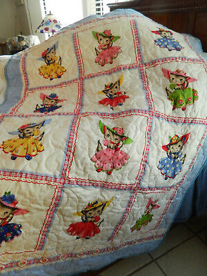 "New Handmade Baby Toddler Quilt Blanket or Crib Cute Kitty Cats 42 1/2""- 57 1/4"""