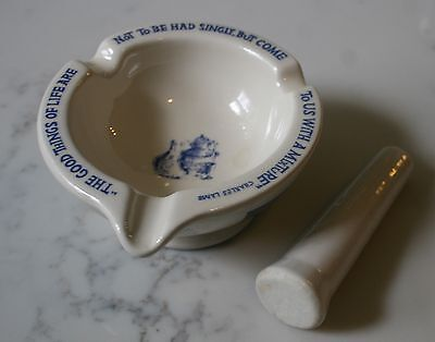 Vintage Sharpe Dohme Mortar & Pestle Apothecary Charles Lamb Quote