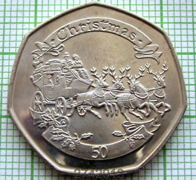 Gibraltar 2008 50 Pence Christmas, Reindeer Driven Carriage, Unc