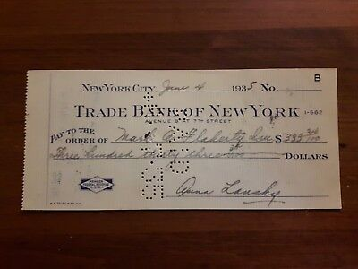Anna Lansky Personal Check 1935 Mob Boss Wife !   Mint